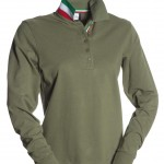 polo femme long nation lady verde army high